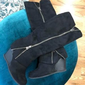 Suede wedge black knee high boots